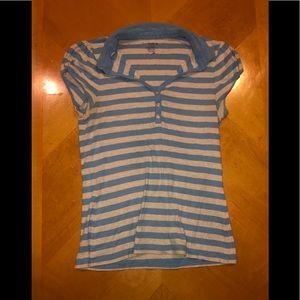 🦋 Blue Striped Polo Shirt🦋